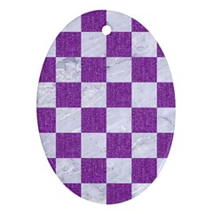 Square1 White Marble & Purple Denim Oval Ornament (two Sides)