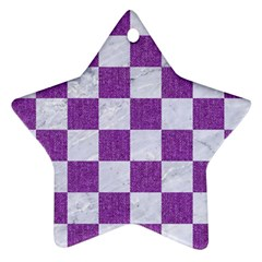 Square1 White Marble & Purple Denim Star Ornament (two Sides)