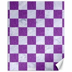 Square1 White Marble & Purple Denim Canvas 11  X 14