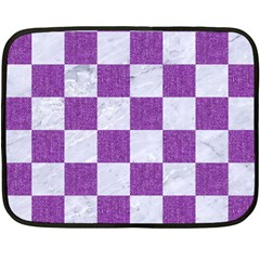 Square1 White Marble & Purple Denim Fleece Blanket (mini) by trendistuff