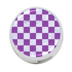 Square1 White Marble & Purple Denim 4 Port Usb Hub (two Sides)  by trendistuff