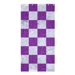 Square1 White Marble & Purple Denim Shower Curtain 36  X 72  (stall)