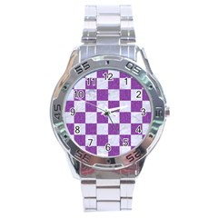 Square1 White Marble & Purple Denim Stainless Steel Analogue Watch by trendistuff