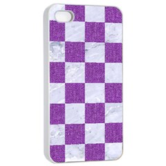 Square1 White Marble & Purple Denim Apple Iphone 4/4s Seamless Case (white)