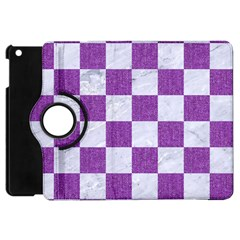 Square1 White Marble & Purple Denim Apple Ipad Mini Flip 360 Case