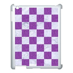 Square1 White Marble & Purple Denim Apple Ipad 3/4 Case (white) by trendistuff