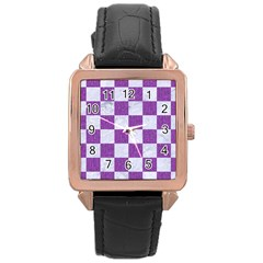 Square1 White Marble & Purple Denim Rose Gold Leather Watch
