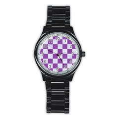 Square1 White Marble & Purple Denim Stainless Steel Round Watch