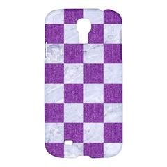 Square1 White Marble & Purple Denim Samsung Galaxy S4 I9500/i9505 Hardshell Case
