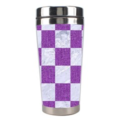 Square1 White Marble & Purple Denim Stainless Steel Travel Tumblers