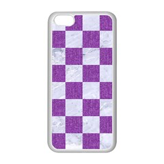 Square1 White Marble & Purple Denim Apple Iphone 5c Seamless Case (white)
