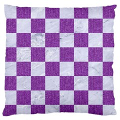 Square1 White Marble & Purple Denim Standard Flano Cushion Case (two Sides)
