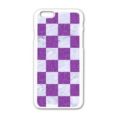 Square1 White Marble & Purple Denim Apple Iphone 6/6s White Enamel Case by trendistuff
