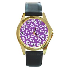Skin5 White Marble & Purple Denim (r) Round Gold Metal Watch