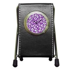 Skin5 White Marble & Purple Denim (r) Pen Holder Desk Clocks
