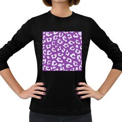 Skin5 White Marble & Purple Denim (r) Women s Long Sleeve Dark T Shirts