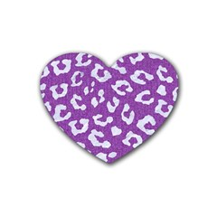 Skin5 White Marble & Purple Denim (r) Heart Coaster (4 Pack)