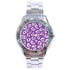 Skin5 White Marble & Purple Denim (r) Stainless Steel Analogue Watch by trendistuff