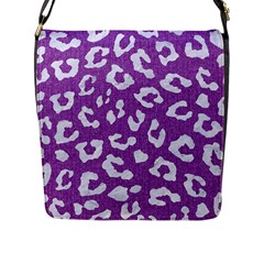 Skin5 White Marble & Purple Denim (r) Flap Messenger Bag (l)