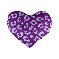 Skin5 White Marble & Purple Denim (r) Standard 16  Premium Flano Heart Shape Cushions by trendistuff