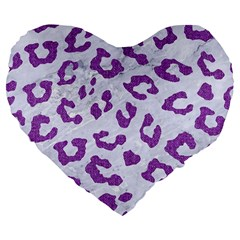 Skin5 White Marble & Purple Denim Large 19  Premium Flano Heart Shape Cushions