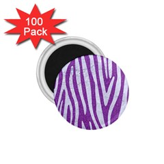 Skin4 White Marble & Purple Denim (r) 1 75  Magnets (100 Pack)