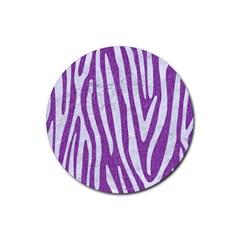 Skin4 White Marble & Purple Denim (r) Rubber Round Coaster (4 Pack)