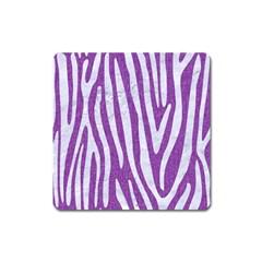 Skin4 White Marble & Purple Denim (r) Square Magnet by trendistuff