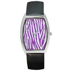 Skin4 White Marble & Purple Denim (r) Barrel Style Metal Watch