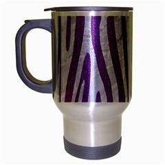 Skin4 White Marble & Purple Denim (r) Travel Mug (silver Gray)
