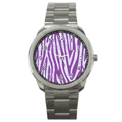 Skin4 White Marble & Purple Denim (r) Sport Metal Watch by trendistuff