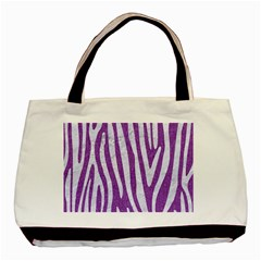 Skin4 White Marble & Purple Denim (r) Basic Tote Bag (two Sides)