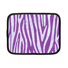 Skin4 White Marble & Purple Denim (r) Netbook Case (small)