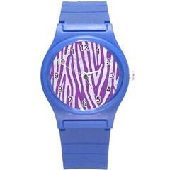 Skin4 White Marble & Purple Denim (r) Round Plastic Sport Watch (s)