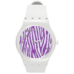 Skin4 White Marble & Purple Denim (r) Round Plastic Sport Watch (m)