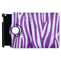 Skin4 White Marble & Purple Denim (r) Apple Ipad 2 Flip 360 Case