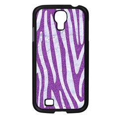 Skin4 White Marble & Purple Denim (r) Samsung Galaxy S4 I9500/ I9505 Case (black)