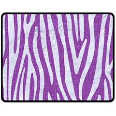 Skin4 White Marble & Purple Denim (r) Double Sided Fleece Blanket (medium)
