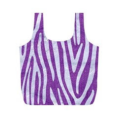 Skin4 White Marble & Purple Denim (r) Full Print Recycle Bags (m)  by trendistuff