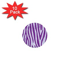 Skin4 White Marble & Purple Denim 1  Mini Buttons (10 Pack)