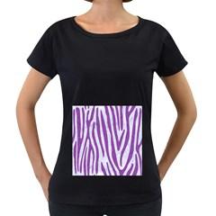 Skin4 White Marble & Purple Denim Women s Loose Fit T Shirt (black)