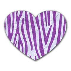 Skin4 White Marble & Purple Denim Heart Mousepads