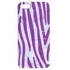 Skin4 White Marble & Purple Denim Apple Iphone 5 Hardshell Case With Stand
