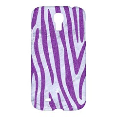 Skin4 White Marble & Purple Denim Samsung Galaxy S4 I9500/i9505 Hardshell Case
