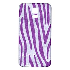 Skin4 White Marble & Purple Denim Samsung Galaxy S5 Back Case (white)