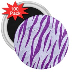 Skin3 White Marble & Purple Denim (r) 3  Magnets (100 Pack) by trendistuff