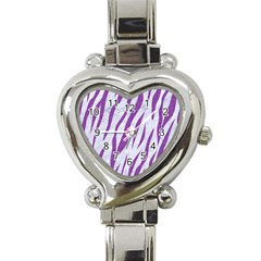 Skin3 White Marble & Purple Denim (r) Heart Italian Charm Watch
