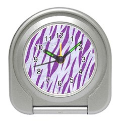 Skin3 White Marble & Purple Denim (r) Travel Alarm Clocks