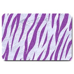 Skin3 White Marble & Purple Denim (r) Large Doormat