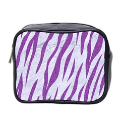 Skin3 White Marble & Purple Denim (r) Mini Toiletries Bag 2 Side